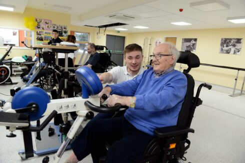 Care for Veterans resident, Tony, during a physiotherapy session.