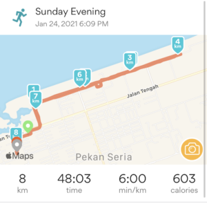 Arpan's January 5k route