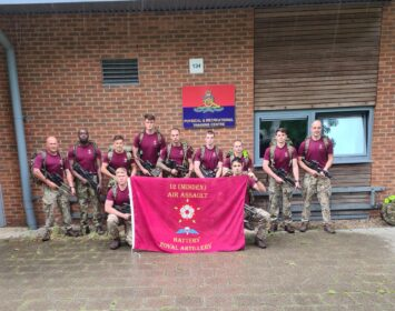12th Minden Air Assault Battery Royal Artillery Run on 4th August as part of pre parachute selection training, wearing 20kg packs and carrying weapons, at Thorney Island Baker Barracks.